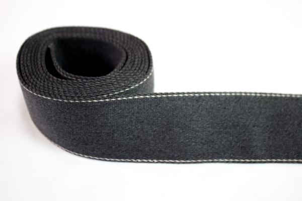 Edles Gurtband 40mm anthra meliert - natur abgesteppt Ökotex 100