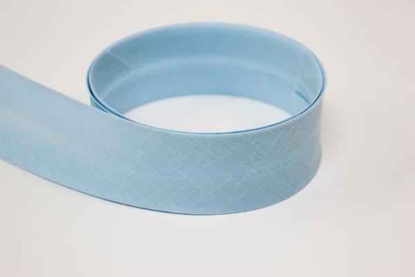 Schrägband 2cm oder 4cm breit vorgefalzt hellblau Ökotex 100