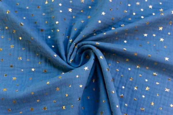 Musselin Double Gauze GOLD Sterne jeansblau 100% Baumwolle Ökotex 100