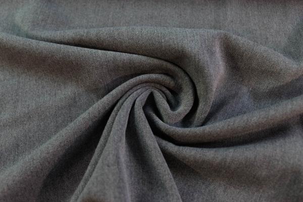 Twill Hosenstoff bi-elastisch Wool Touch Meliert mittelgrau Ökotex 100