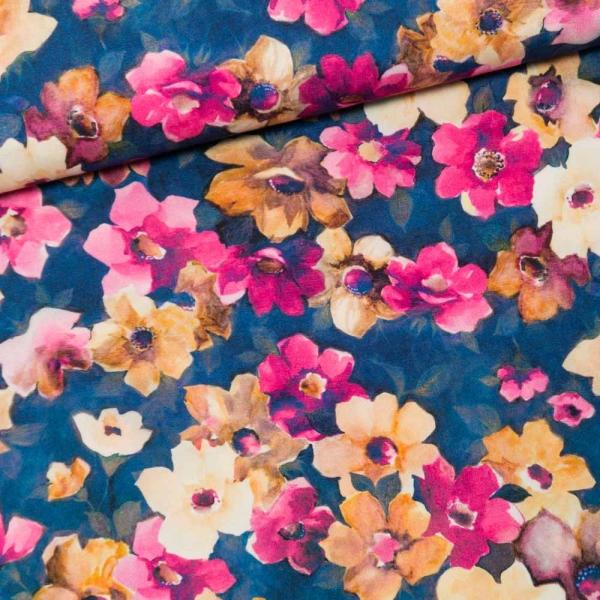 Viskosewebware Digital Blumenmeer jeansblau
