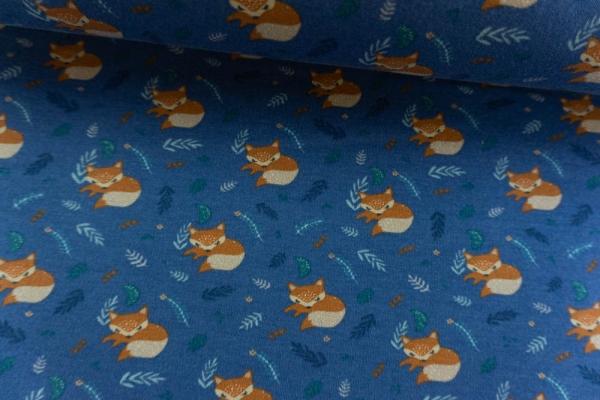 Jersey-Sweat angeraut Good Night Fox blau Ökotex 100