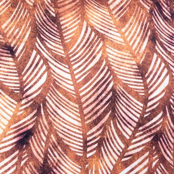 Bio-Baumwolljersey Wavey Leaves Watercolor senf