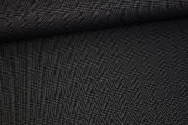 Hosenstoff Romanit-Jersey Punta-Jersey kleine Checks anthra-schwarz Ökotex 100