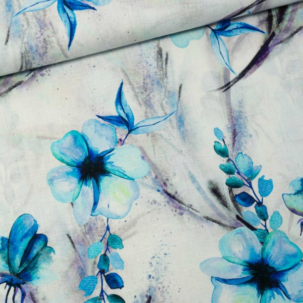 Premium Leinen Digital Springflowers roayalblau
