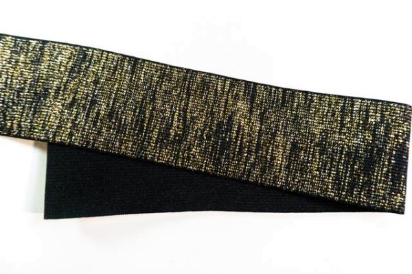 Gummiband Glam schwarz-gold 60mm Ökotex 100