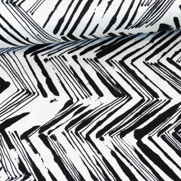 Viskosesatin Grafisch Chevron Stripes weiß-schwarz Ökotex 100