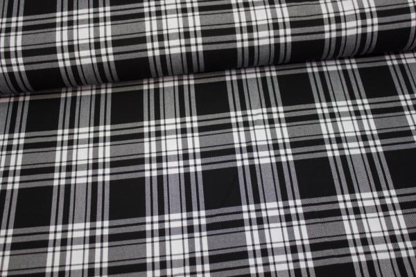 Fashionstoff Schottenkaro Twill elastisch schwarz-weiß GROß Ökotex 100