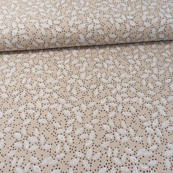 Baumwollwebware Baby Cotton Forest Leaves beige