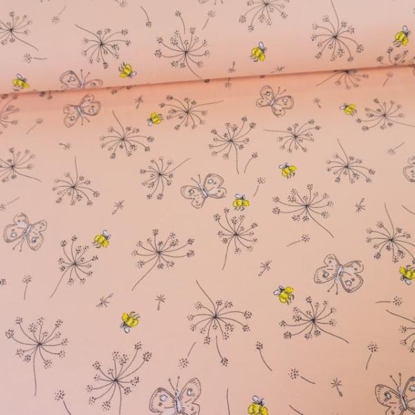 3,2 m Stück Baumwolljersey Schmetterling und Bienchen rosa-nude