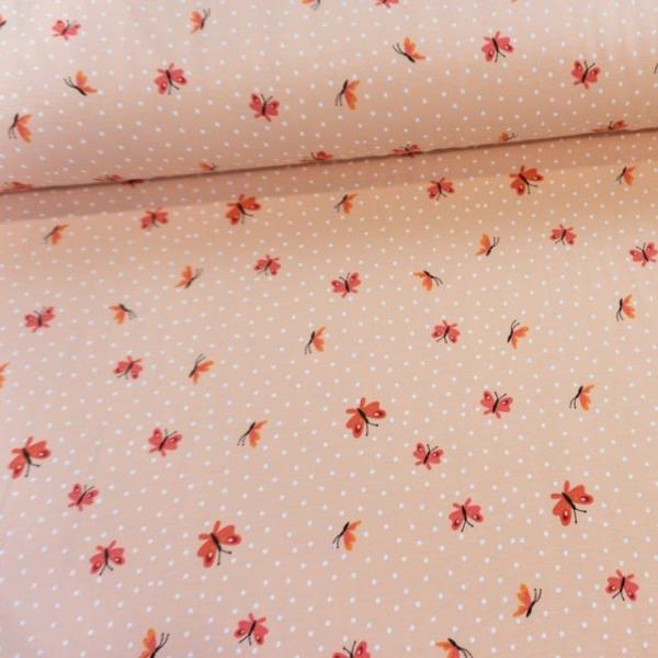 Baumwolljersey Small Butterflies rosa