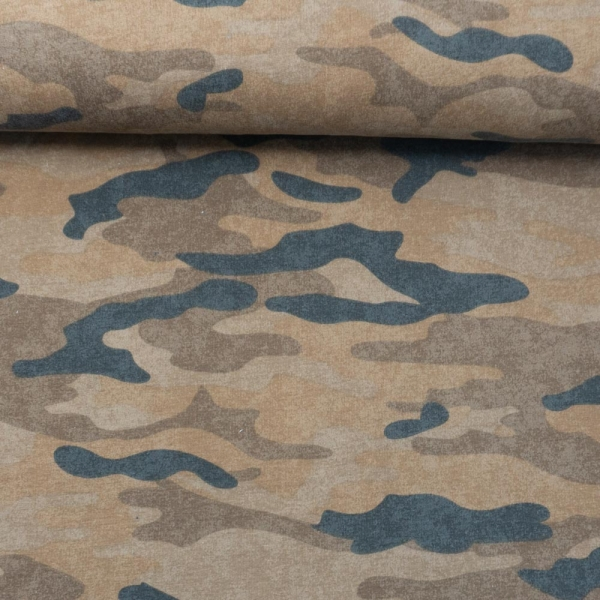Sweat French Terry ANGERAUT Camouflage USED terra