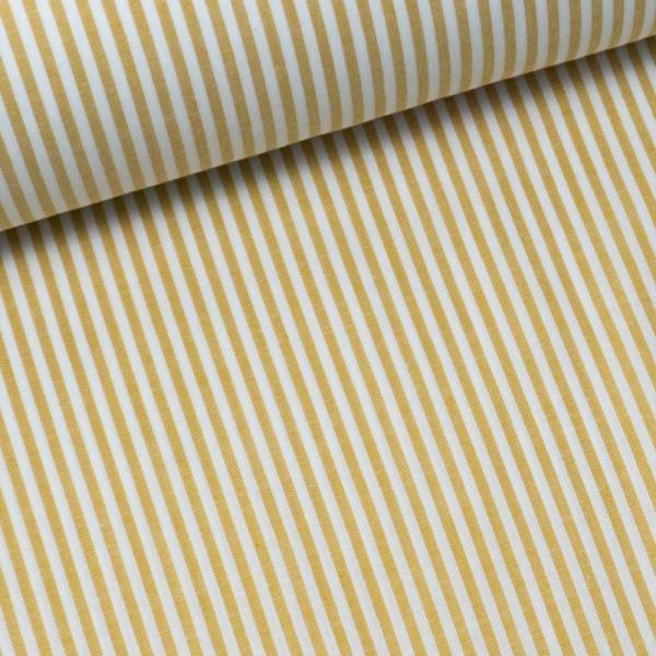 Baumwoll Popeline Streifen MELIERT senf