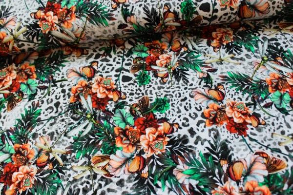 Viskosejersey Animal Flowers grau-peach Ökotex 100