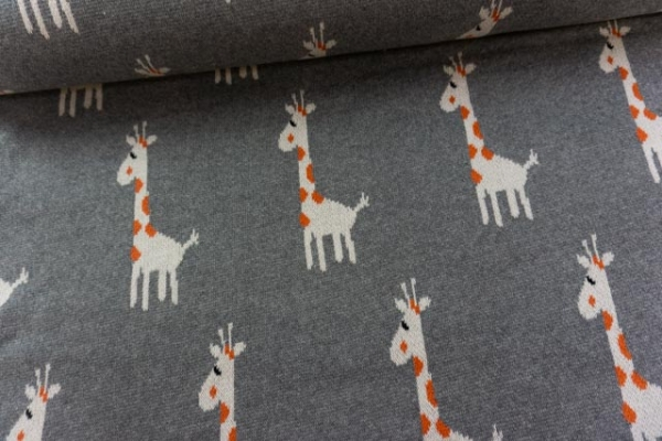 Strick Jacquard 100 % Baumwolle schwer Giraffe grau Ökotex100