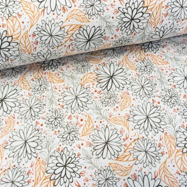 Musselin Double Gauze Filigrane Grafische Blumen