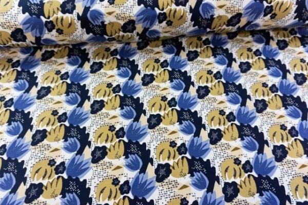BIO Baumwolljersey Nelken navy-beige-jeansblau Ökotex 100