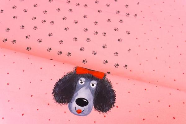 Baumwolljersey DIGITAL PANEL Poodle Doodle rosa Ökotex 100