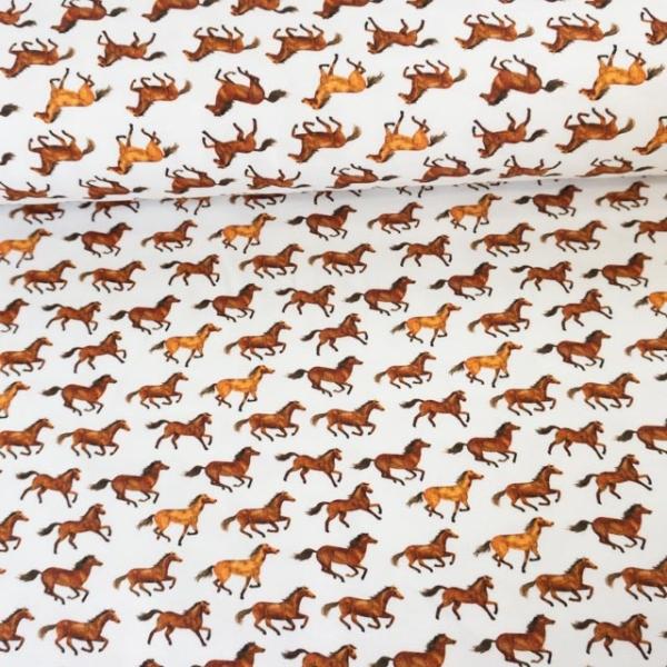 Sweat French Terry Kleine Pferde weiß Ökotex 100
