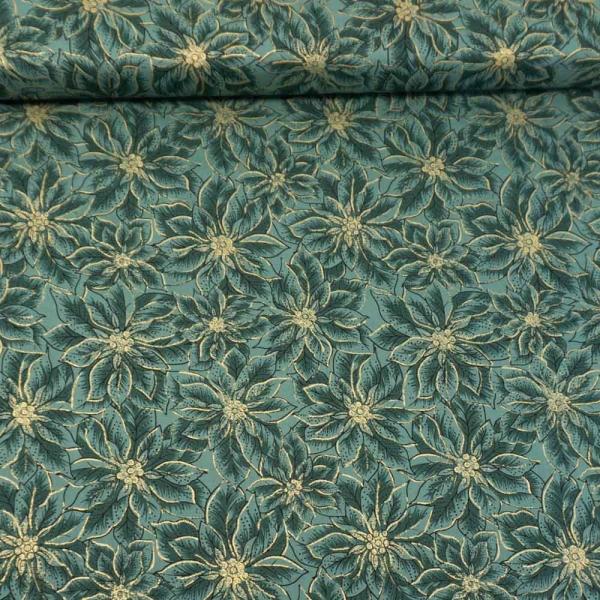 Baumwollwebware Christmas Star Plant dusty mint