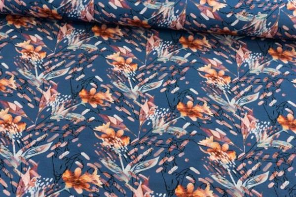 Baumwolljersey DIGITAL Verzweigt aquarell jeansblau Ökotex 100