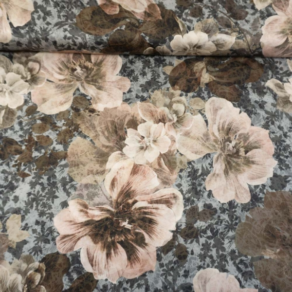 Viskosesatin Italienische Kollektion Big Blossoms hellgrau