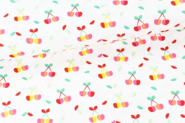 Baumwollwebware Popeline Rainbowkirschen weiß Ökotex 100