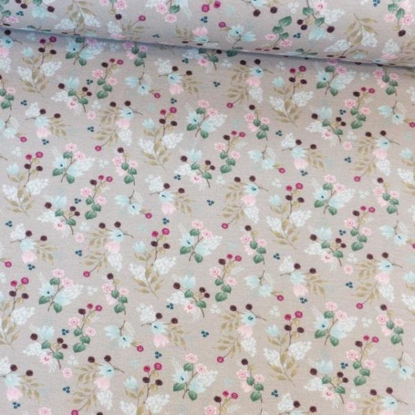 Baumwolljersey Babyblumen Bouquet taupe Ökotex 100