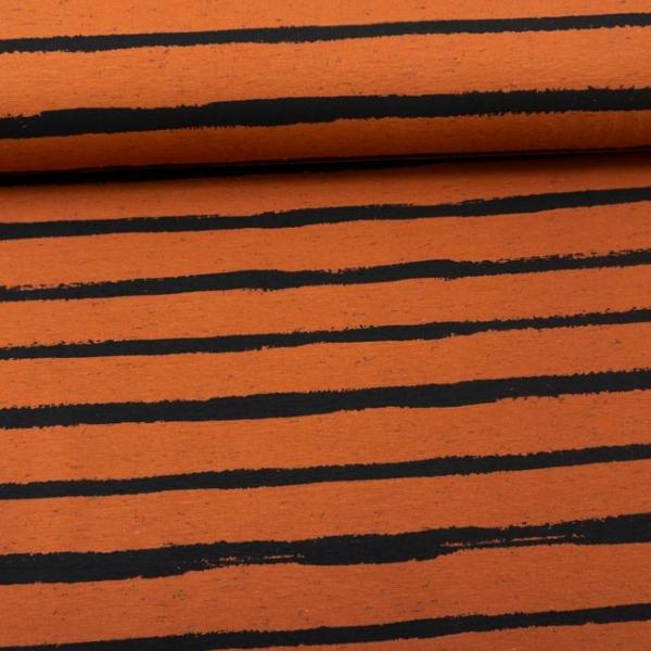 Baumwolljersey Melange Stripes terra