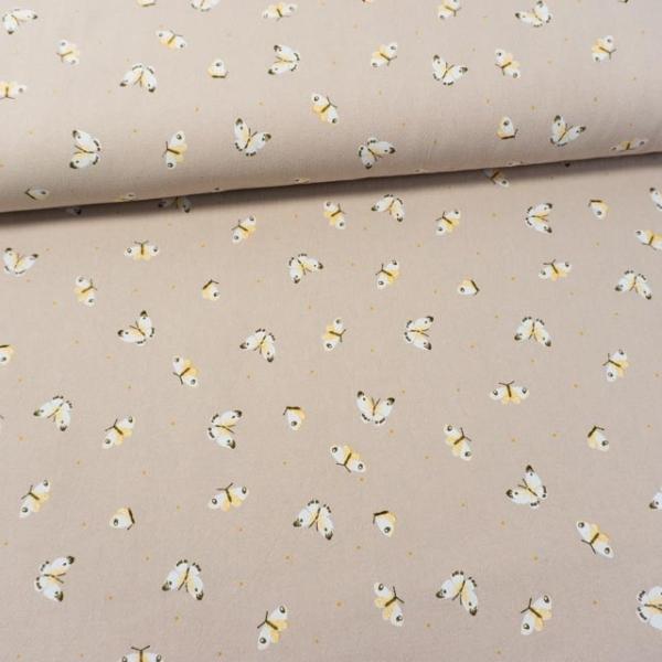 Baumwollwebware Baby Cotton Butterflies beige