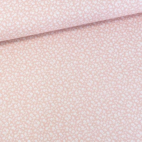 Baumwollwebware Little Flowers rosa