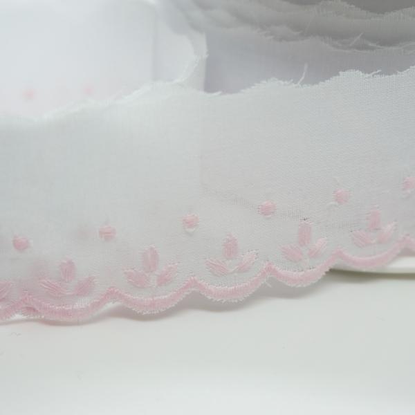 Baumwoll Spitzenborte Sprösslinge rosa 3,5cm