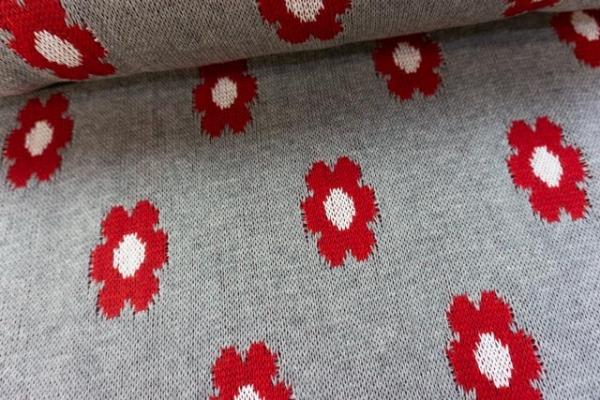 Baumwoll Blumen Strick 100% Baumwolle rot-grau Ökotex100