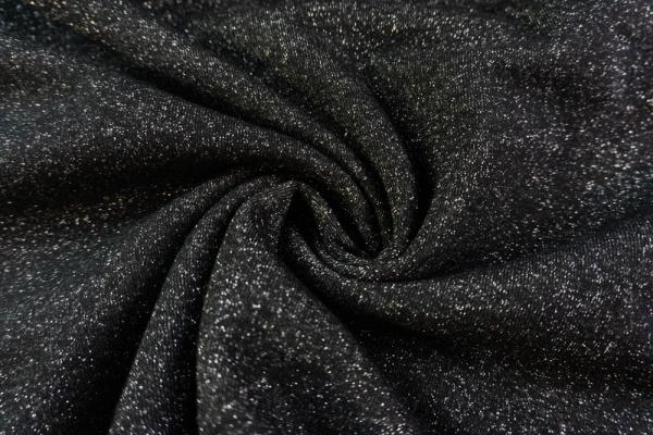 Sweat Silver-Glam Uni schwarz angeraut Ökotex 100