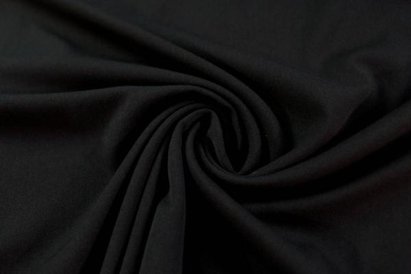 Twill Hosenstoff bi-elastisch Wool Touch Uni schwarz Öko Tex 100