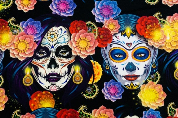 Bio-Baumwolljersey Mexican Frida schwarz Ökotex 100