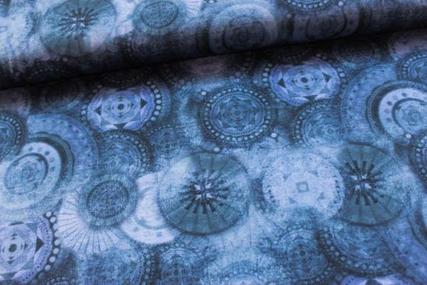 Baumwolljersey DIGITAL Mandalaliebe jeansblau dunkel Öko Tex 100