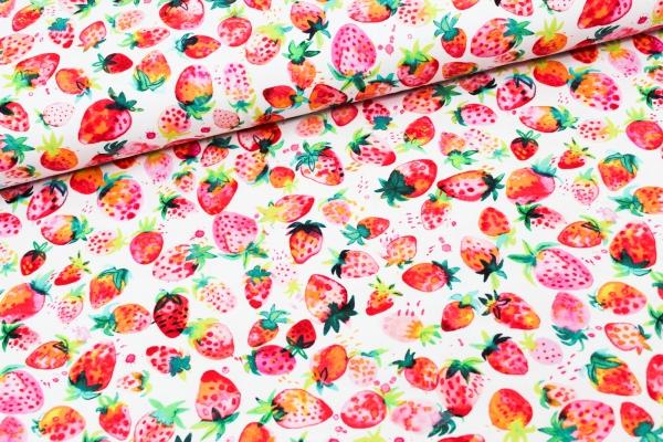 Baumwolljersey DIGITAL Strawberries weiß Ökotex 100