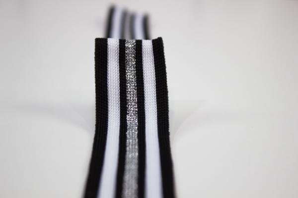 Galonband Glam schwarz-weiß-silber Ökotex 100