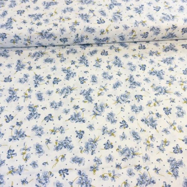 Baumwollwebware Italienische Kollektion Kleine Schnittblumen blau Ökotex 100