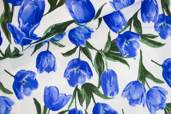 Webware elastisch Tulpen blau Öko Tex 100