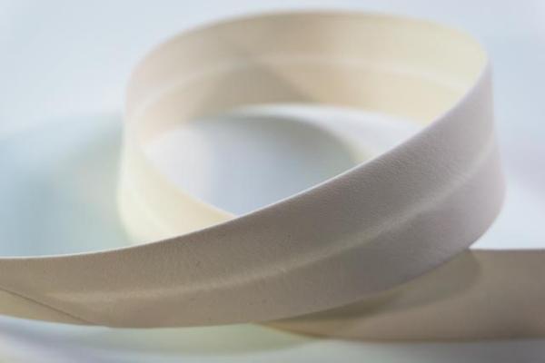 Kunstleder Schrägband 3cm breit vorgefalzt ecru Ökotex 100