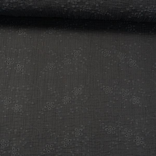 Musselin Double Gauze Rankenstickerei schwarz