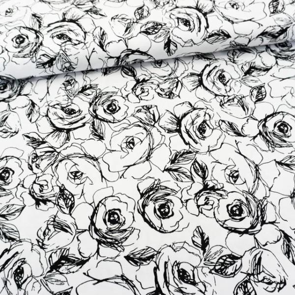 Baumwollsatin Stretch Painted Flowers weiß