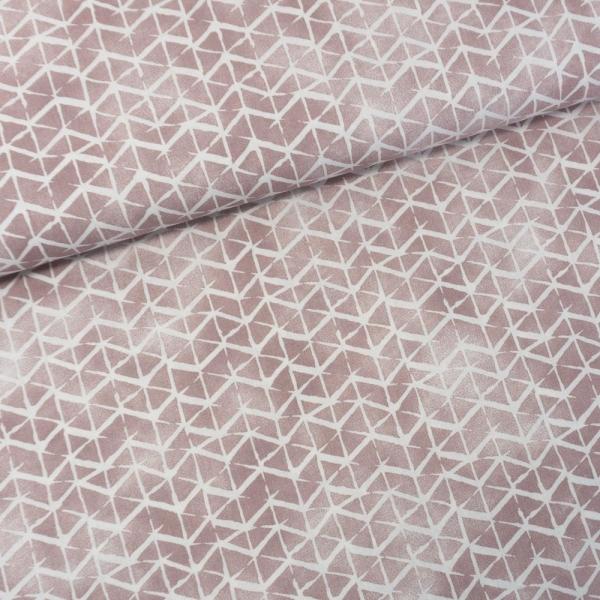 Baumwollwebware Italienische Kollektion Grafisch altrosa-weiß