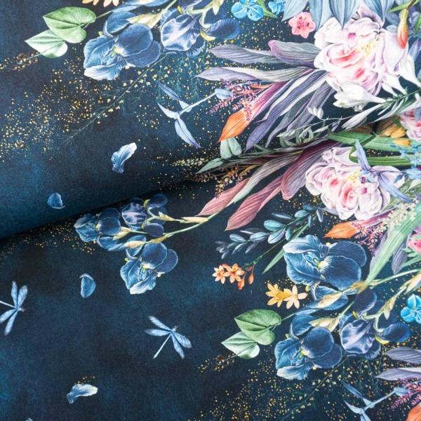 Bio-Baumwolljersey BORDÜRE Melange Fairytale Flowers navy