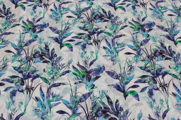Viskose Chiffon Blaue Blumen Ökotex 100