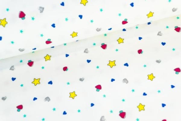 Baumwolljersey Rainbow Stars weiß Ökotex 100