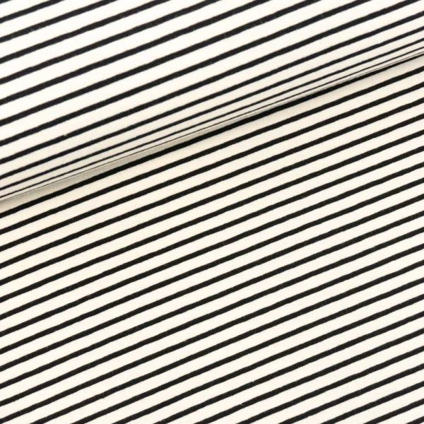 Baumwolljersey Small Stripes ecru-schwarz