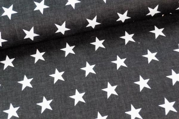 Baumwollwebware Große Sterne schwarz Ökotex 100